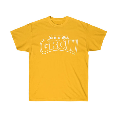 """Chill Grow"" adult tshirt (golden state yellow/white)"