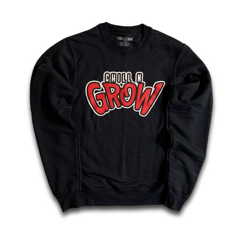 """Chill N Grow"" adult crewneck sweatshirts (black/red/white)"