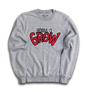 """Chill N Grow"" adult crewneck sweatshirts (heather grey/ black/ red)"