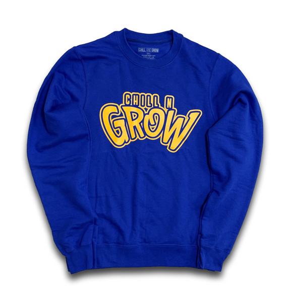 """Chill N Grow"" adult crewneck sweatshirts (red/yellow)"
