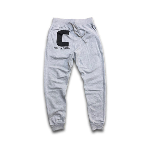 "Chill + Grow ""BIG C"" adult joggers (grey/black)"