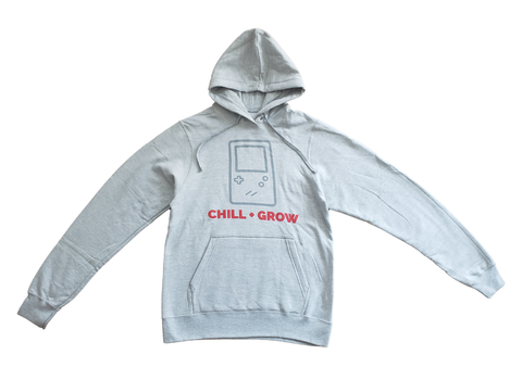 "Chill + Grow ""GAMEBOY"" adult hoodie (heather grey/red)"