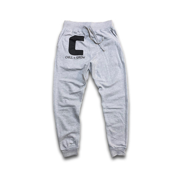 "Chill + Grow ""BIG C"" adult joggers (army green/white)"