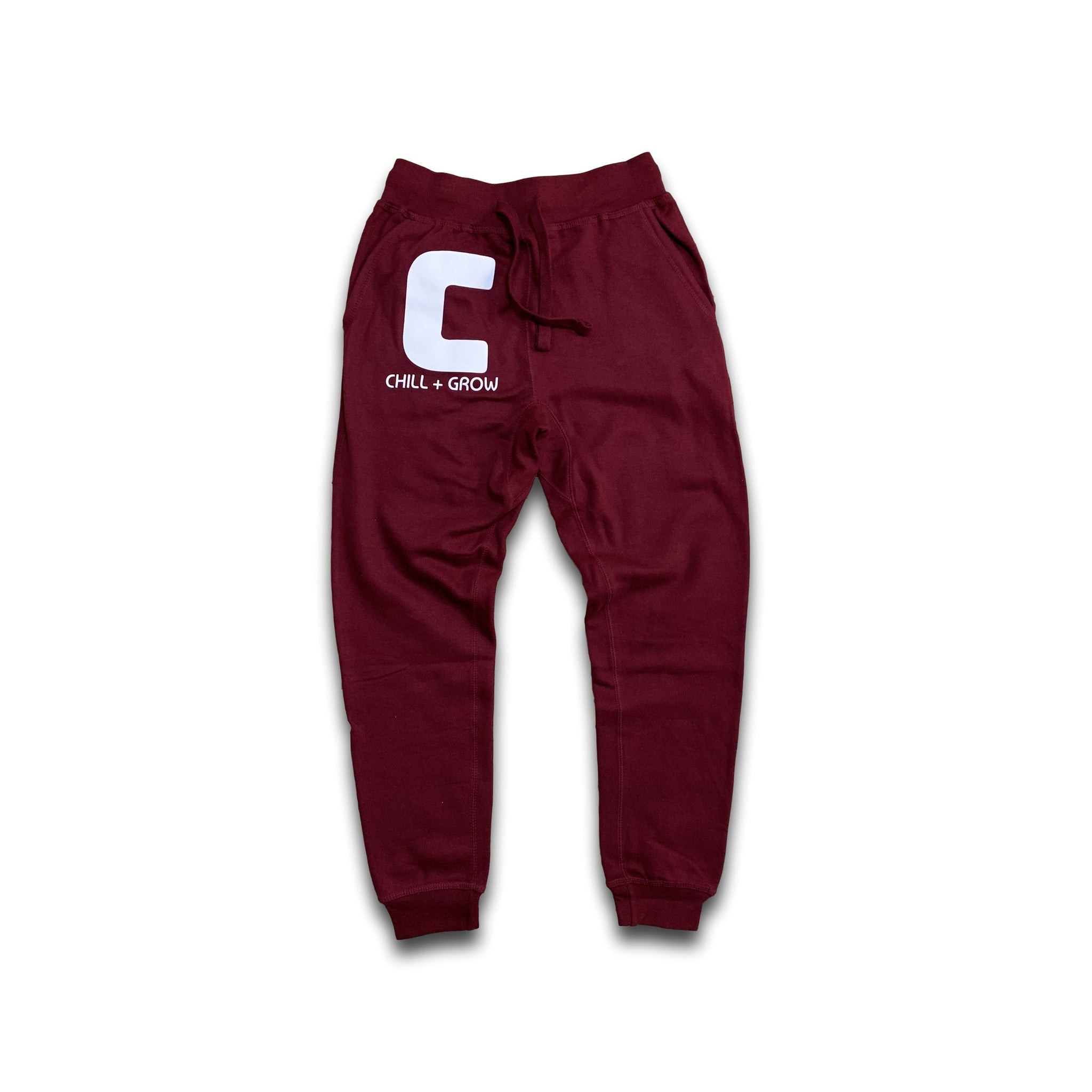 "Chill + Grow ""BIG C"" adult joggers (maroon/white)"