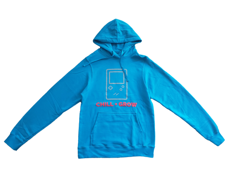"Chill + Grow ""GAMEBOY"" adult hoodies (aqua blue/grey/red)"
