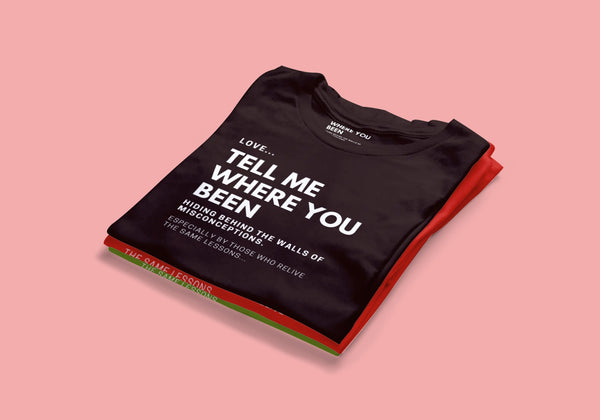 """LOVE Tell Me Where You Been"" T-shirt (red)"