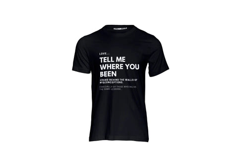 """LOVE Tell Me Where You Been"" T-shirt (black)"