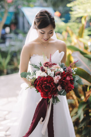 Red Peony Bridal Bouquet Vinna with Silk Ribbons
