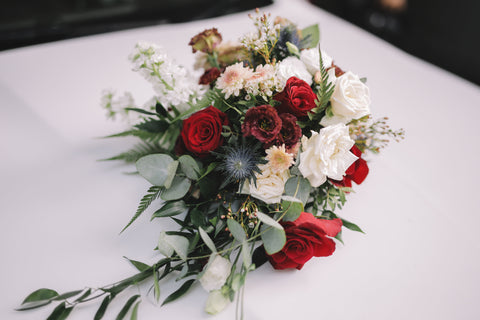 Wedding Car Florals Burgundy and Red