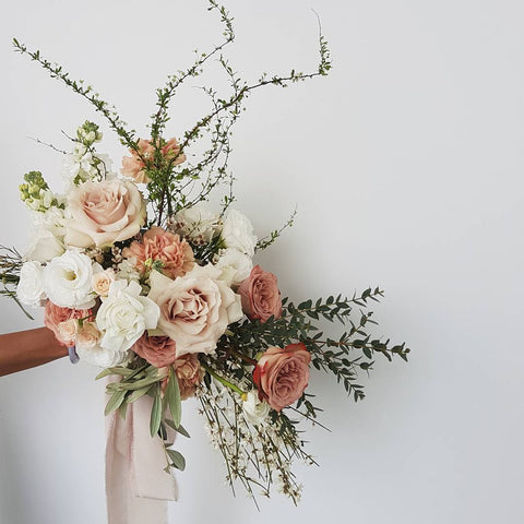 Blush and Nude Bridal Bouquet Fine Art Wedding Silk Ribbons