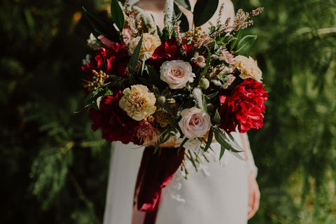 Burdundy Peony and Latte Rose Bridal Bouquet with Silk Ribbons