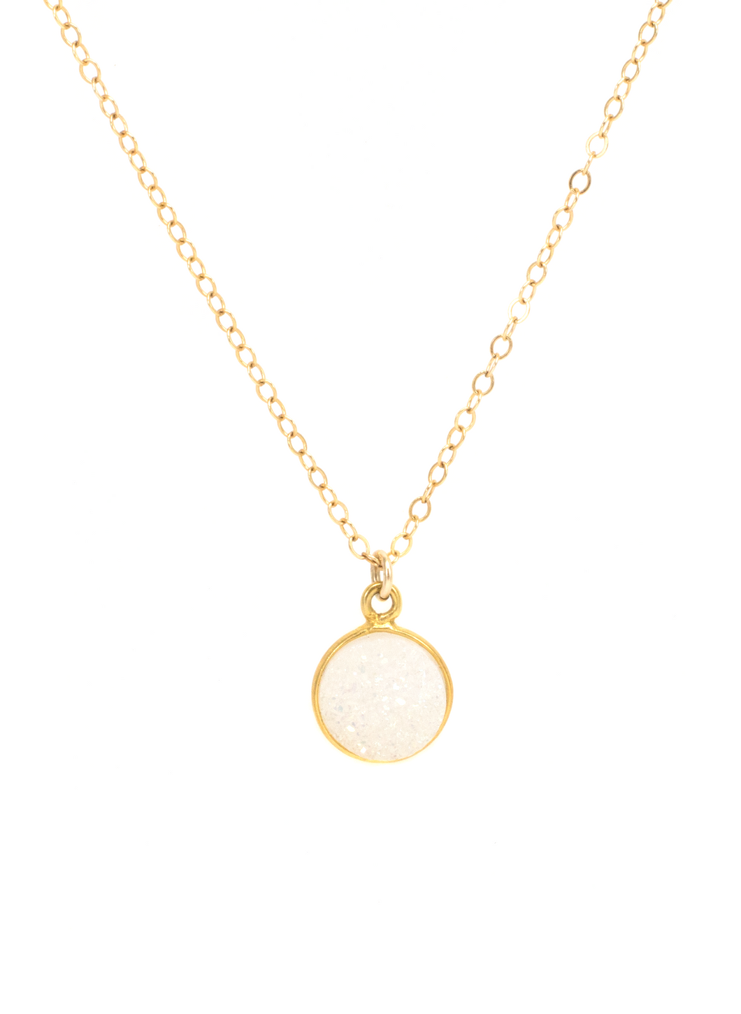 WHITE DRUZY NECKLACE IN GOLD