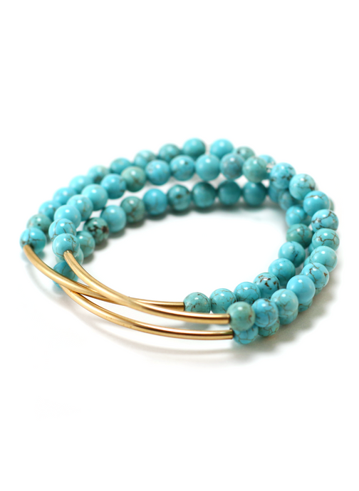 TRINITY BRACELET IN TURQUOISE MAGNESITE | Maria Kamara: ethical gold jewelry, artisan gold jewelry, ethically sourced jewelry