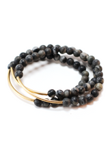 TRINITY BRACELET IN GRAY MARBLE | Maria Kamara: ethical gold jewelry, artisan gold jewelry, ethically sourced jewelry