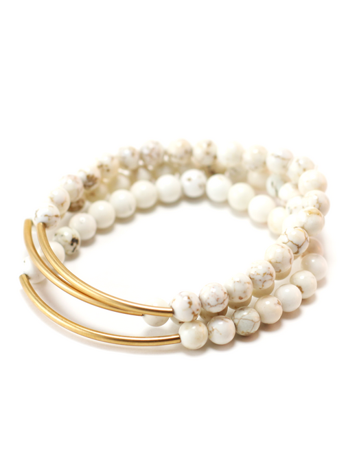 TRINITY BRACELET IN NATURAL MAGNESITE | Maria Kamara: ethical gold jewelry, artisan gold jewelry, ethically sourced jewelry