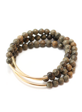 TRINITY BRACELET IN LEOPARD JASPER | Maria Kamara: ethical gold jewelry, artisan gold jewelry, ethically sourced jewelry