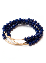 TRINITY BRACELET IN LAPIS LAZULI | Maria Kamara: ethical gold jewelry, artisan gold jewelry, ethically sourced jewelry