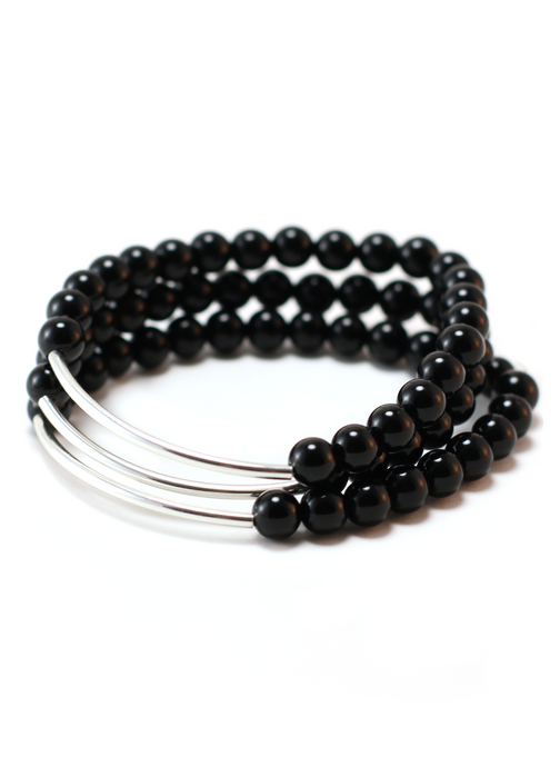 TRINITY BRACELET IN SILVER AND ONYX | Maria Kamara: ethical gold jewelry, artisan gold jewelry, ethically sourced jewelry