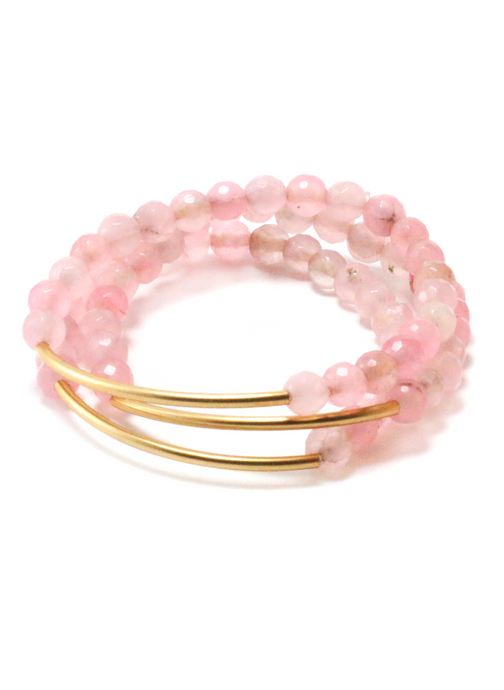 TRINITY BRACELET IN PINK JADE | Maria Kamara: ethical gold jewelry, artisan gold jewelry, ethically sourced jewelry