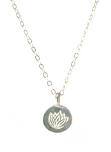 LOTUS NECKLACE IN SILVER | Maria Kamara: handcrafted designer necklaces, american handmade jewelry, handmade boutique jewelry, handcrafted fashion necklaces