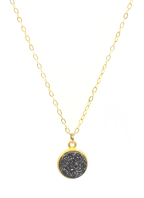 CHARCOAL DRUZY PENDENT NECKLACE | Maria Kamara: handcrafted designer necklaces, american handmade jewelry, handmade boutique jewelry, handcrafted fashion necklaces