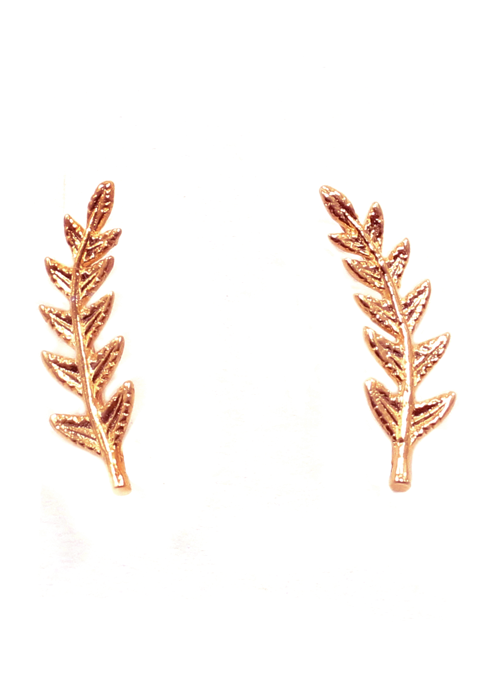 LEAF EAR CLIMBER IN ROSE GOLD | Maria Kamara: handcrafted silver earrings, ethically sourced earrings, handmade designer earrings, elegant handmade jewelry