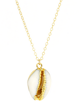 COWRIE SHELL NECKLACE | Maria Kamara: handcrafted designer necklaces, american handmade jewelry, handmade boutique jewelry, handcrafted fashion necklaces