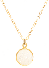 WHITE DRUZY PENDENT NECKLACE IN GOLD | Maria Kamara: handmade sterling silver jewelry, designer handmade necklaces, ethically sourced necklaces, ethical necklaces