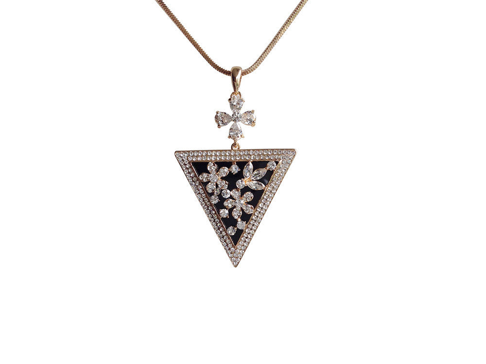 Rhinestone Flower Pyramid Necklace