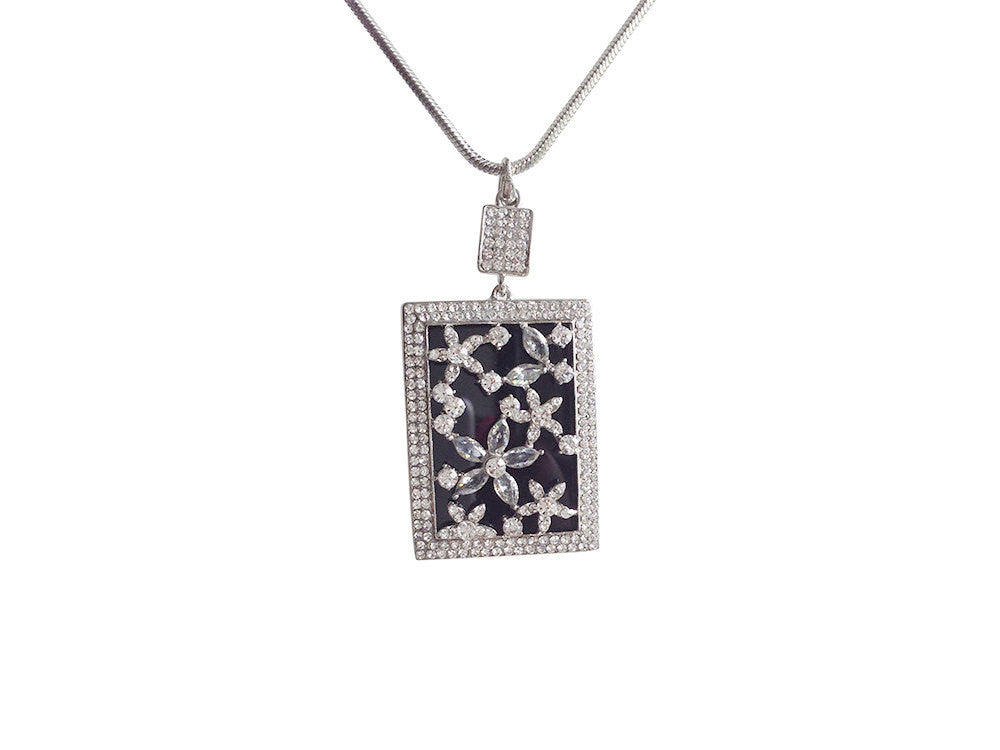 Rectangle Rhinestone Flower Necklace