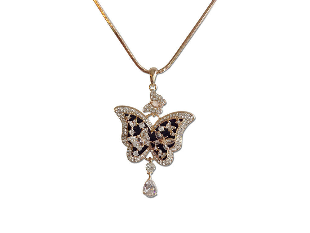 Butterfly Rhinestone Flower Necklace