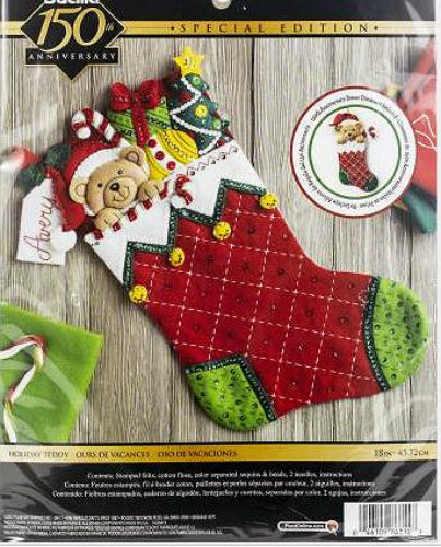Bucilla Holiday Teddy Felt Stocking Kit with Ornament