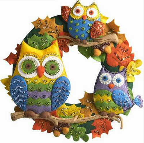 Bucilla Owl Felt Wreath Kit