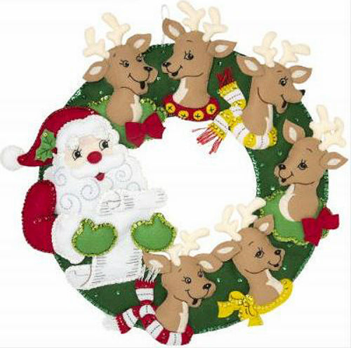Bucilla Santa and Reindeer Felt Wreath Kit