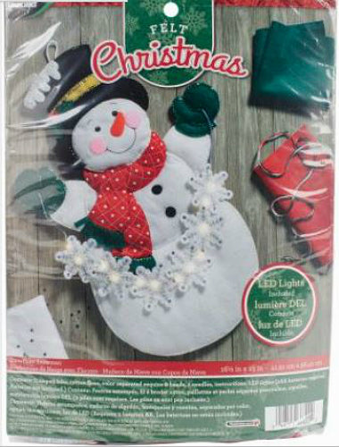 Bucilla Snowflake Snowman LED Light Up Felt Wall Hanging Kit