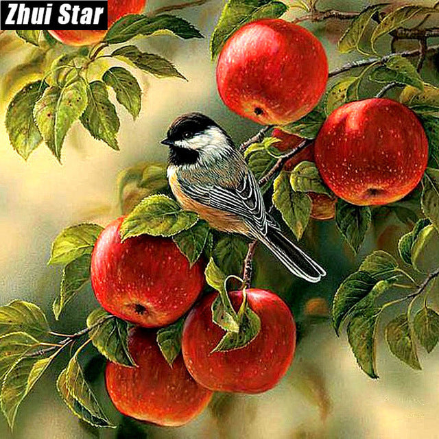 5D DIY Diamond Painting Chickadee in Red Apple Tree - craft kit