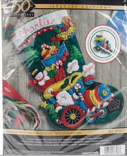 Bucilla Choo Choo Santa Felt Stocking Kit with ornament