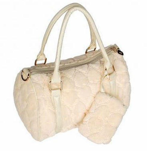 Sweetheart Cream Faux Fur Purse