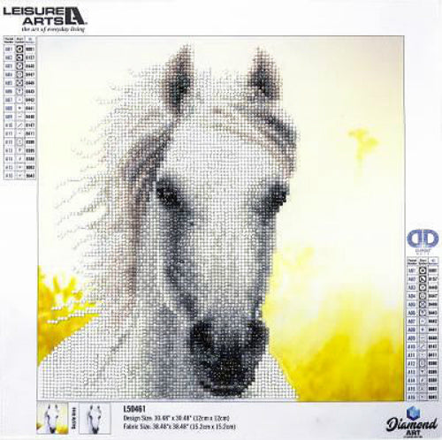 Leisure Arts White Horse Diamond Painting Kit partial