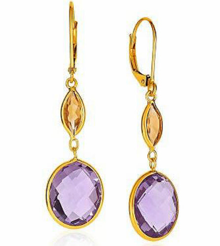 14K Gold Citrine and Amethyst Briolette Drop Earrings