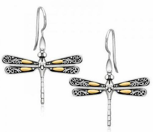 18K Gold and Sterling Silver Dragonfly Dangle Earrings