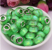 Lampwork Big Hole DIY Glass AB and Silver Pandora Style Spacer Beads