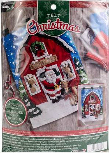 Bucilla Santa's Reindeer Barn LED Light Up Felt Wall Hanging Kit