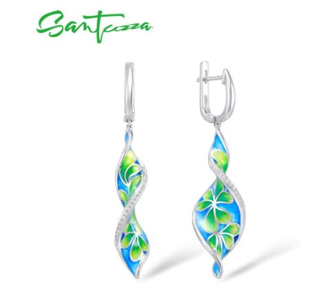 SANTUZZA 925 Sterling Silver Blue Green Floral Twist Earrings