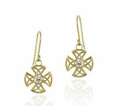 10K Gold and CZ Openwork Dangle Cross Earrings