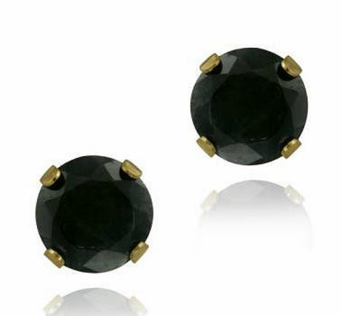 14K Yellow Gold 6mm Sapphire Stud Earrings