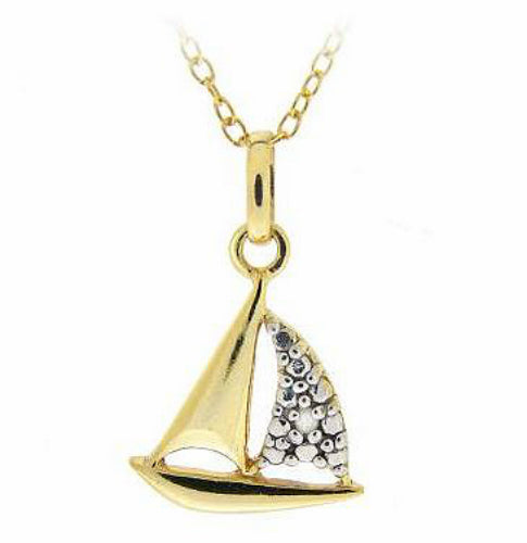 18K Gold over 925 Sailboat Diamond Necklace