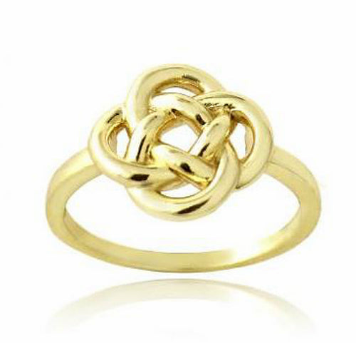 18K Gold over Sterling Silver Floral Love Knot Ring