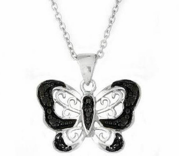 Rhodium Plated Butterfly Pendant Necklace with Black Diamond