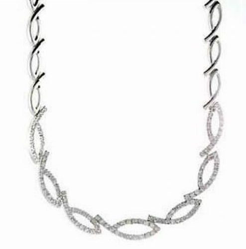 Rhodium Plated Sterling Silver CZ Graduated Nines Necklace